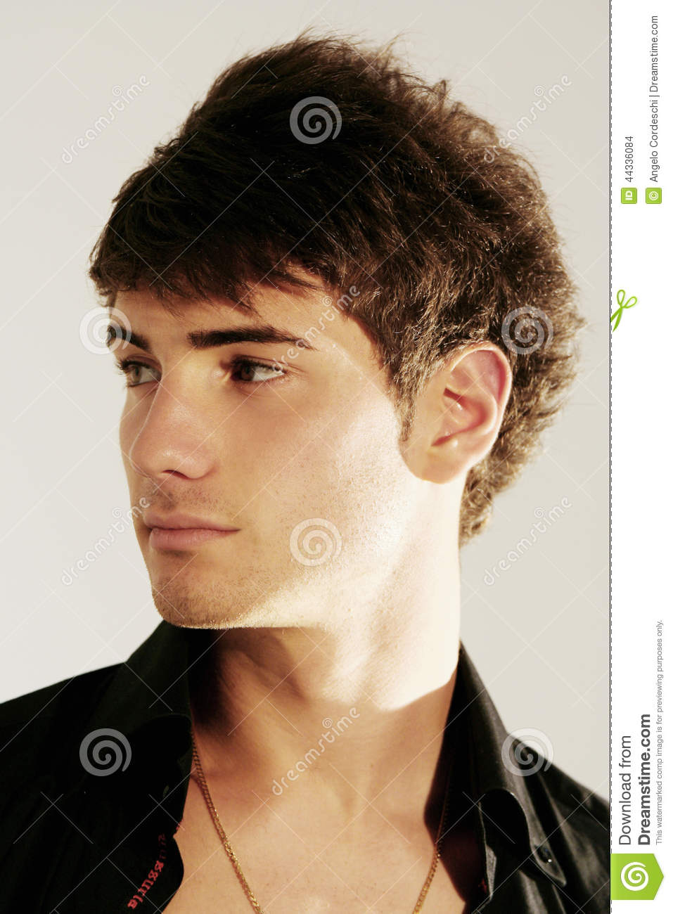 Handsome Young Boy Hair Style Oper Shirt Stock Photo