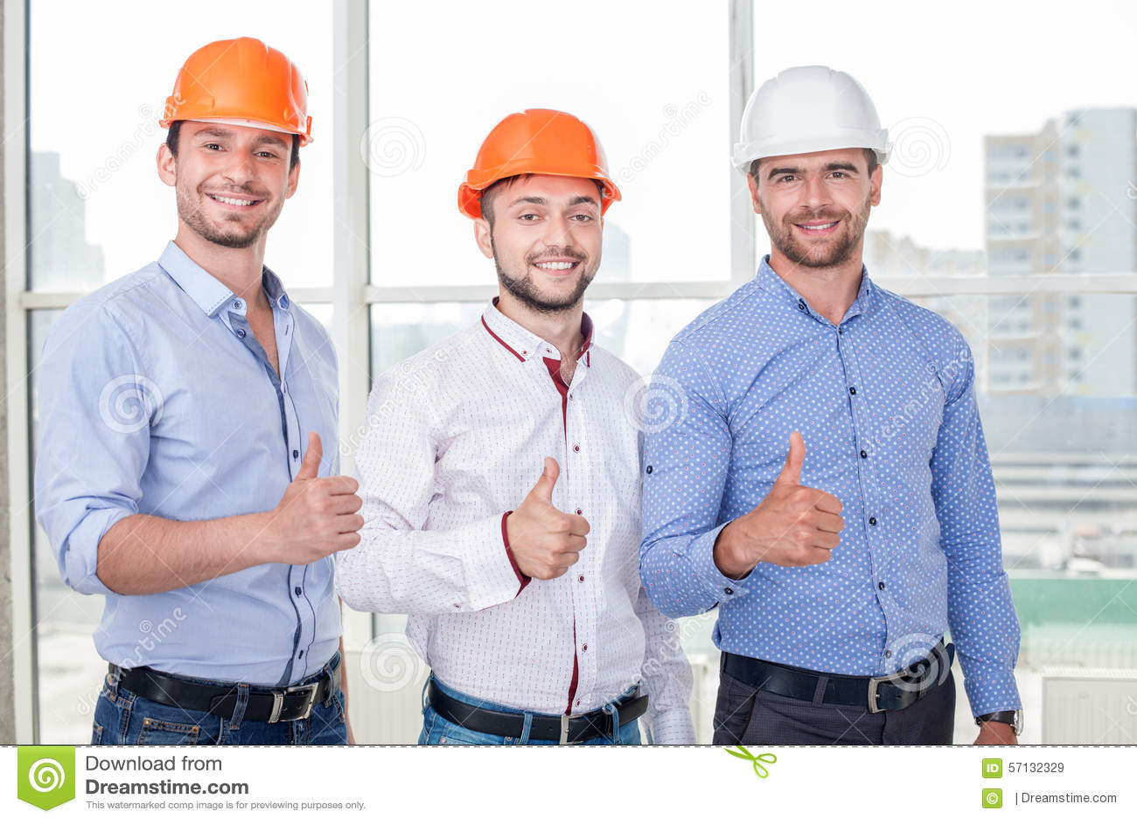 Construction workers having joy