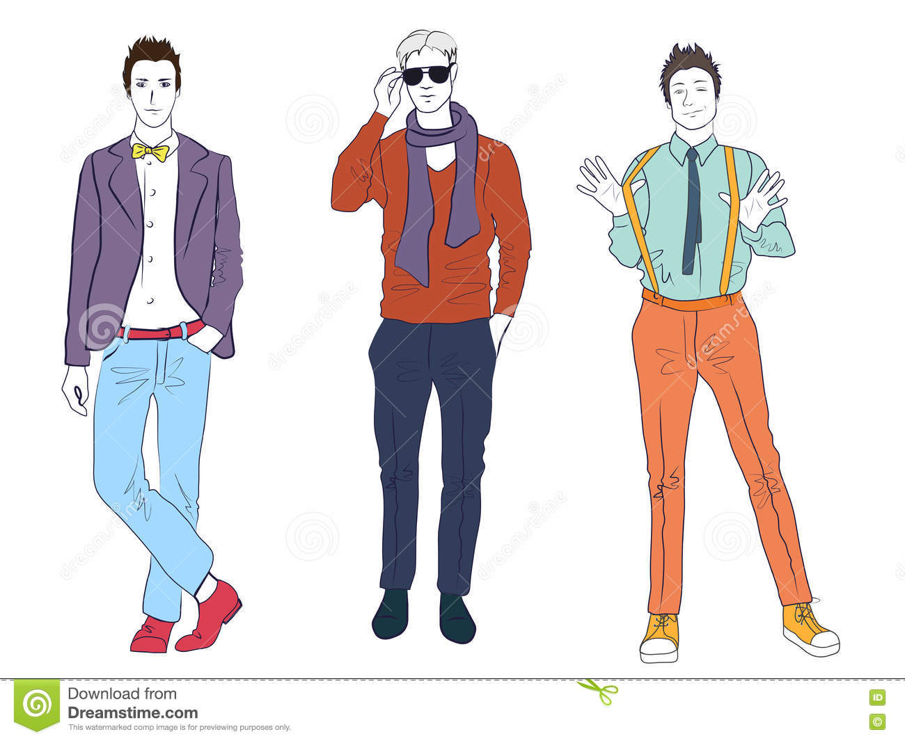 Vector Set Of Stylish Guys In Modern Flat Design Vector ...