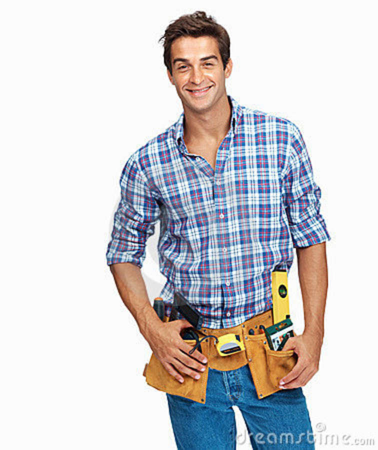 Handsome Young Handyman Stock Photo. Image Of Alone, Light