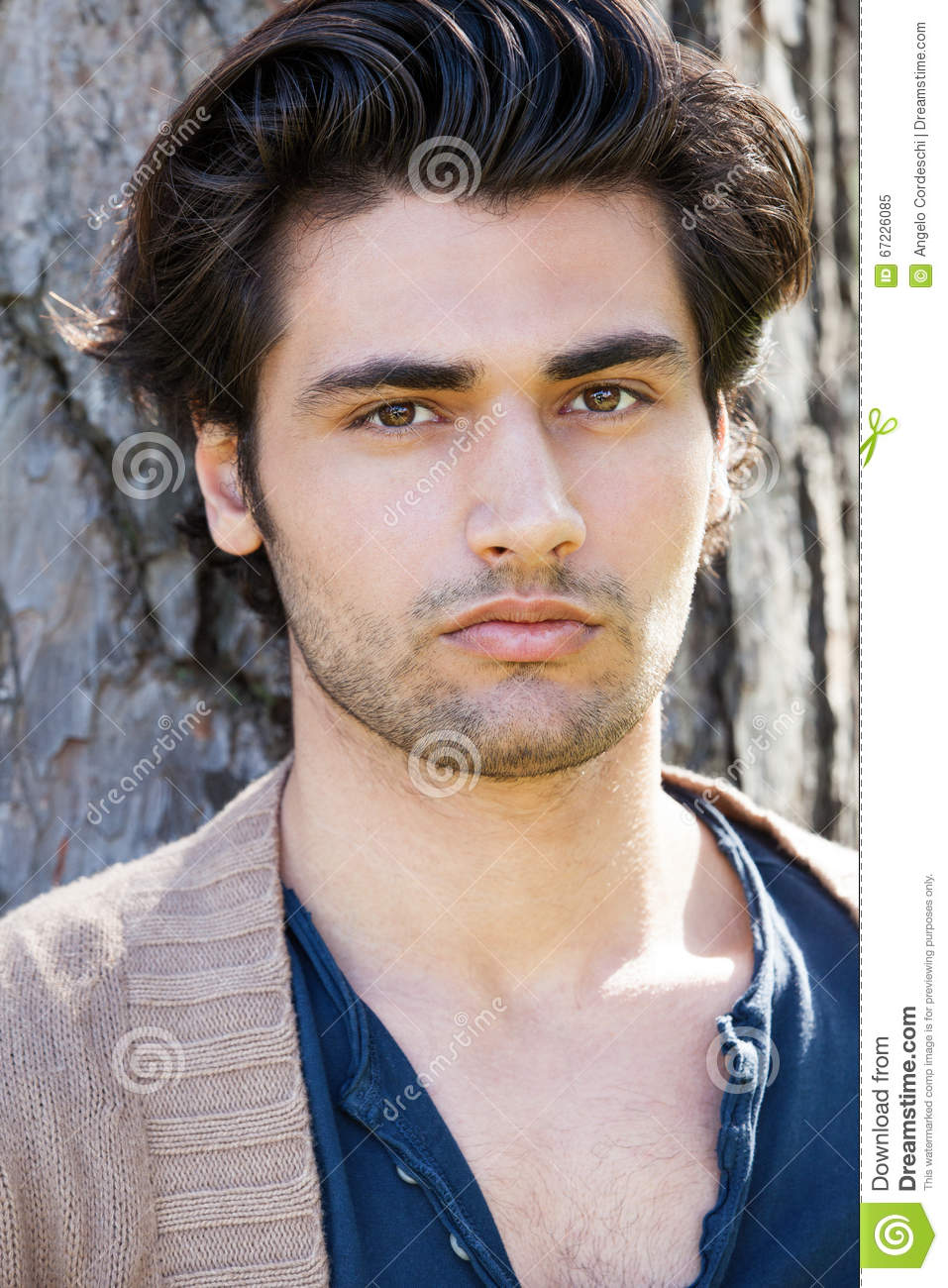 Handsome Young Italian Man Portrait Stylish Hair Male