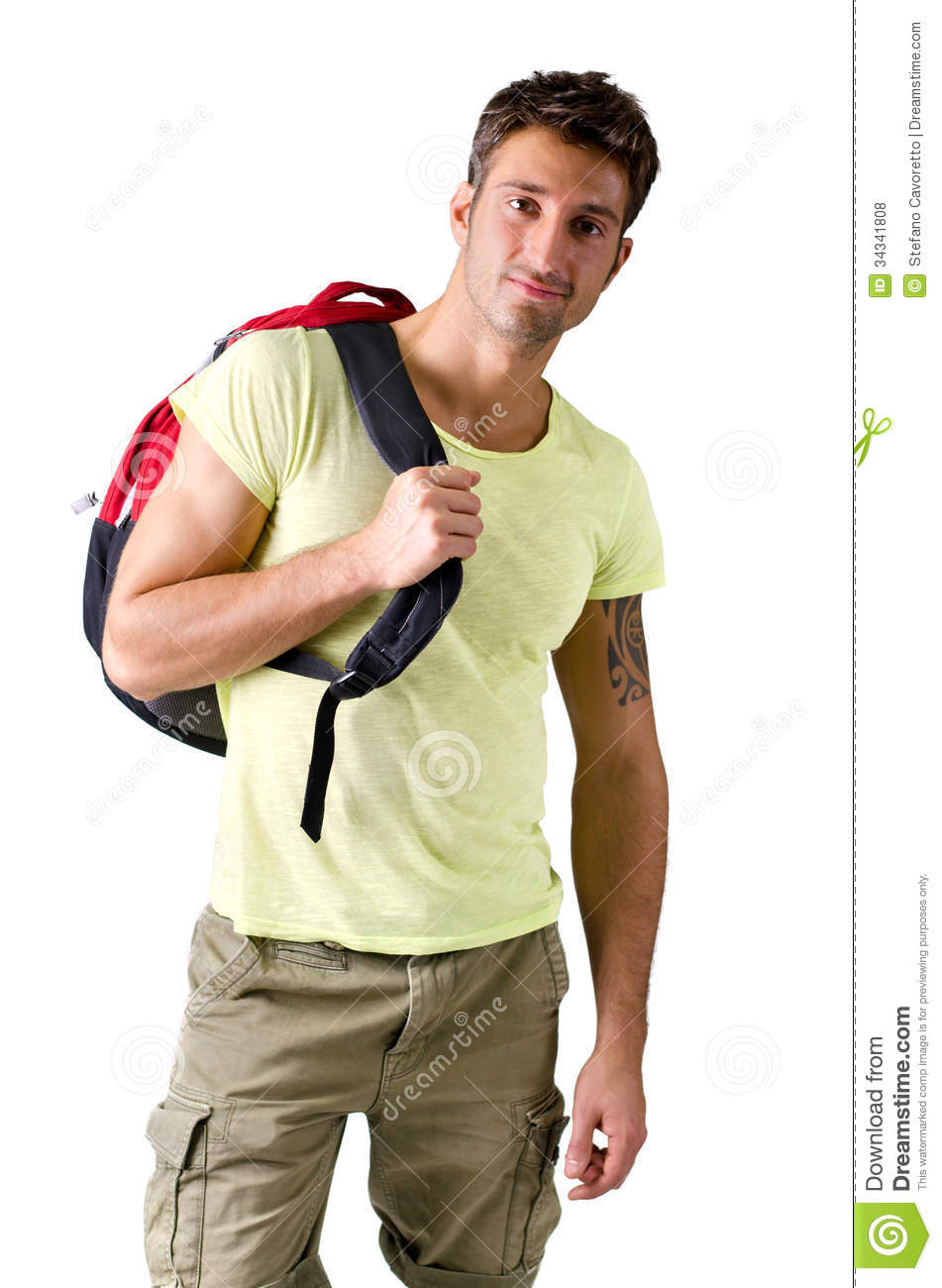 Handsome Young Man With Backpack, Isolated On White Stock ...