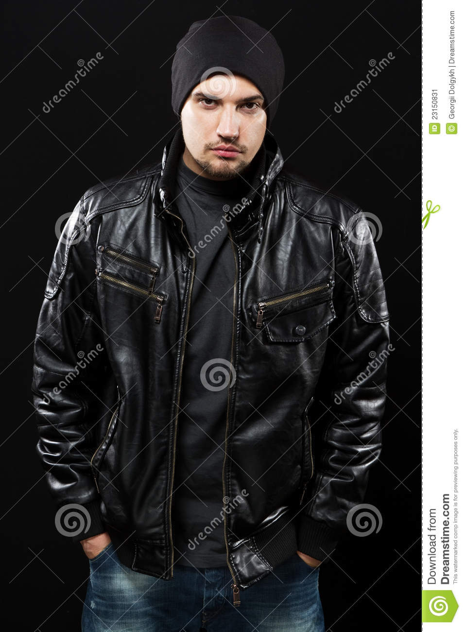 Handsome Young Man In Black Leather Jacket Stock Image - Image ...