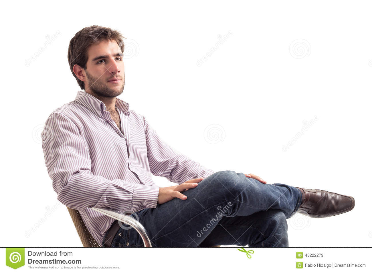 Man sitting in chair side - Handsome Isolated Man Posing Sitting