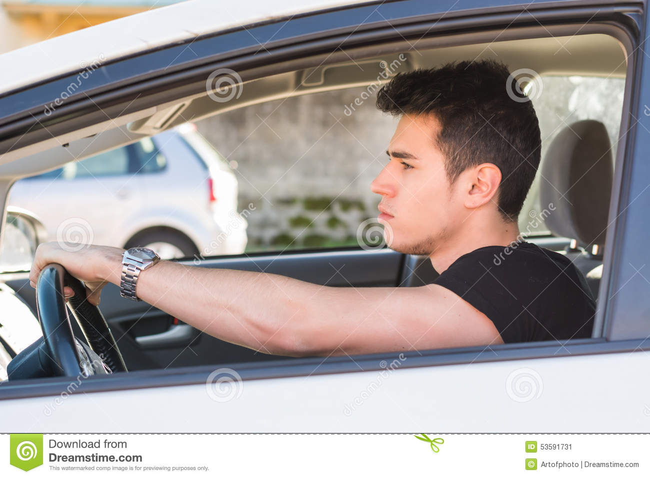 Front View Of A Person Driving A Car