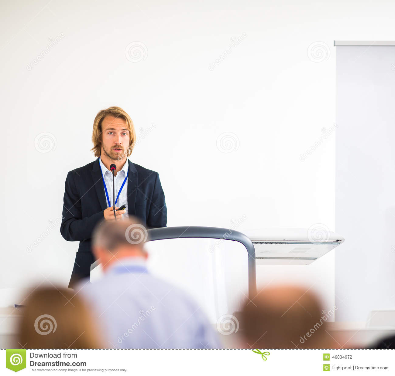 Handsome Young Man Giving A Speech Stock Photo - Image ...