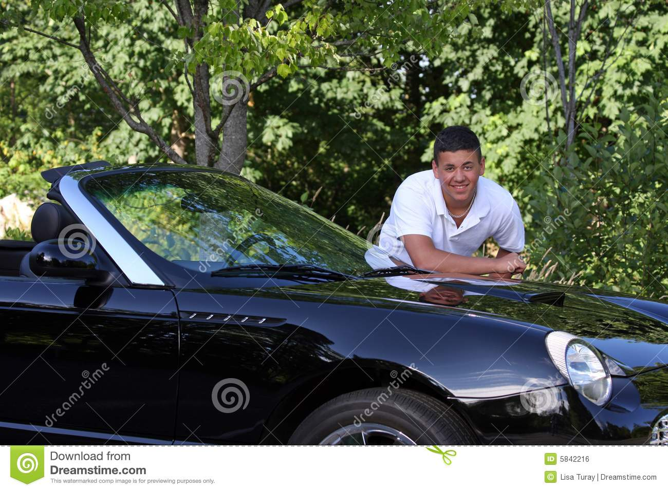 Handsome Young Man Leaning On Car Royalty Free Stock Image