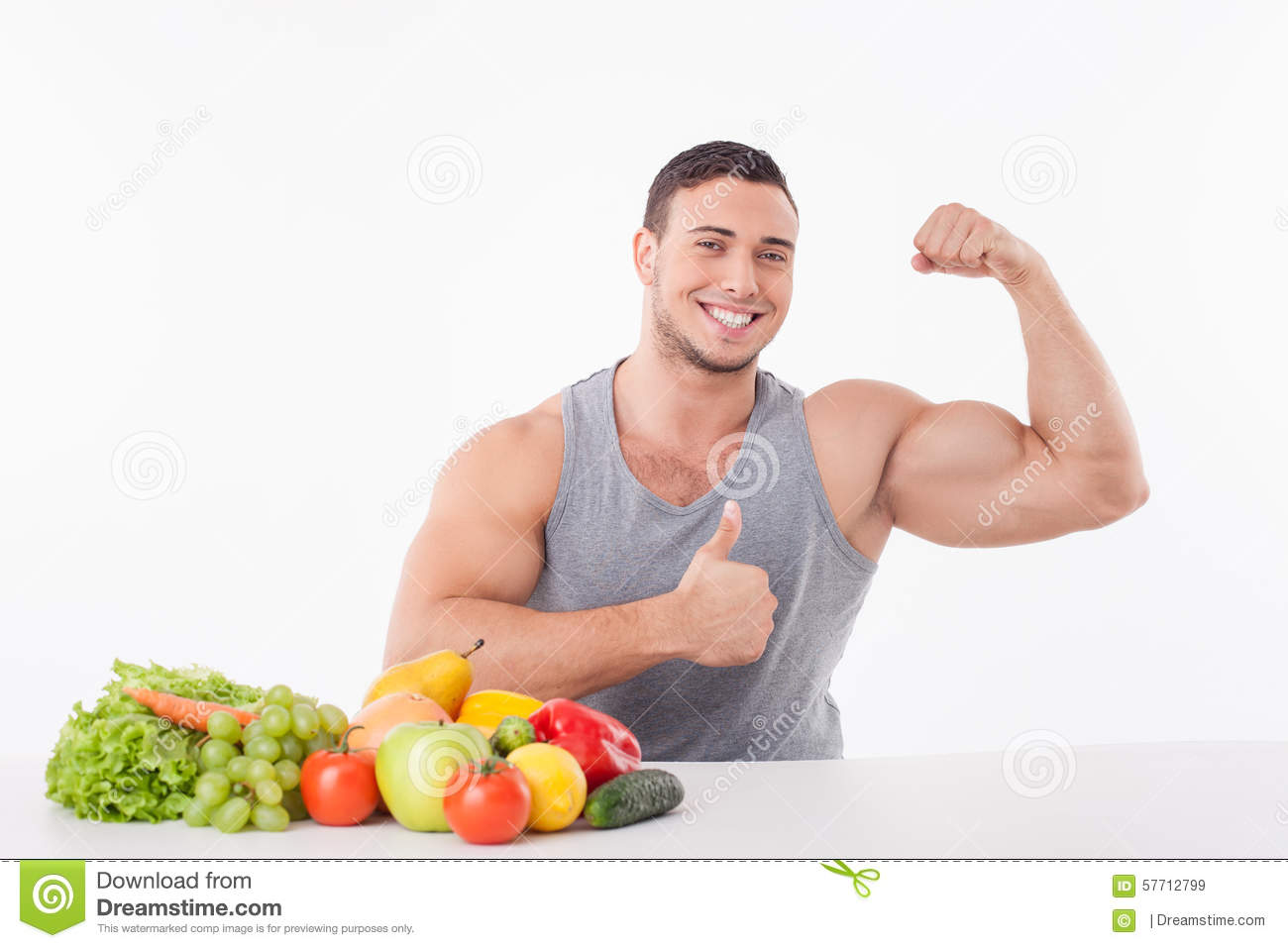 Handsome Young Man Is Proud Of His Healthy Body Stock ...