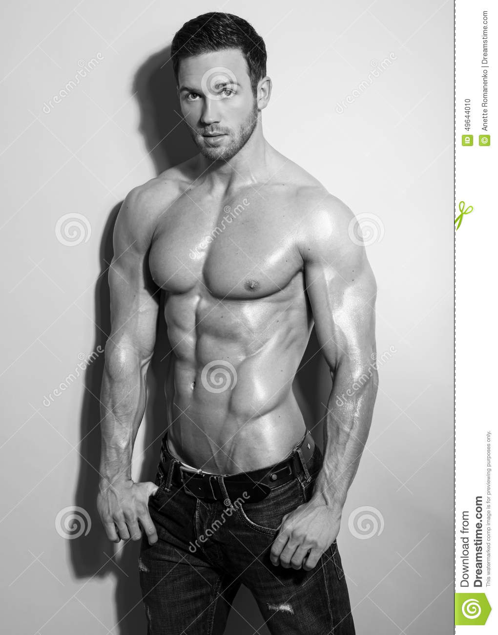 Naked Young Man Holds Hand On Shoulder Stock Photo