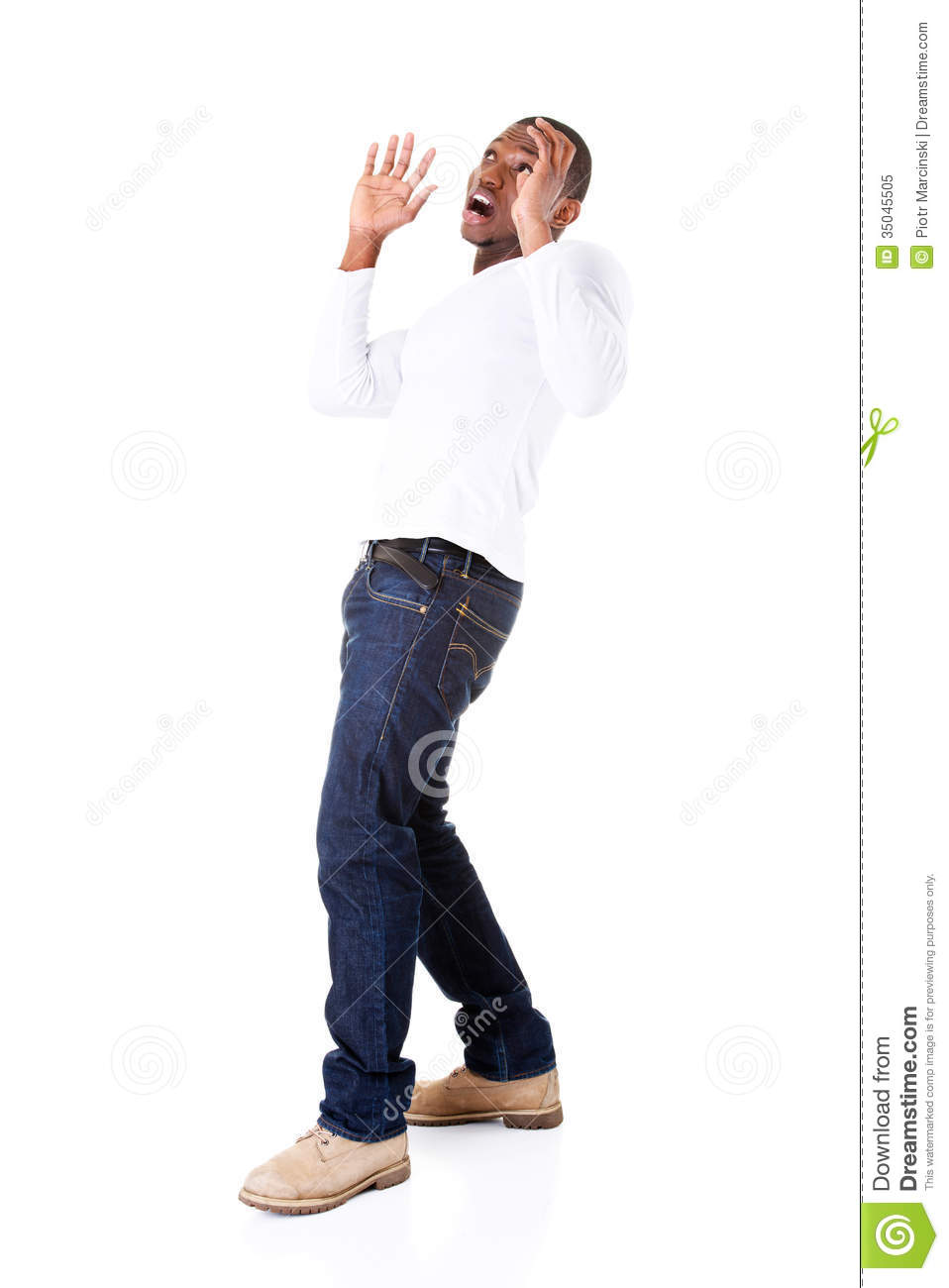 Handsome Young Man Standing, Scared. Royalty Free Stock ...