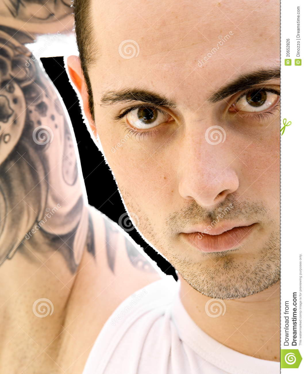 young tattoo handsome shot dreamstime face close