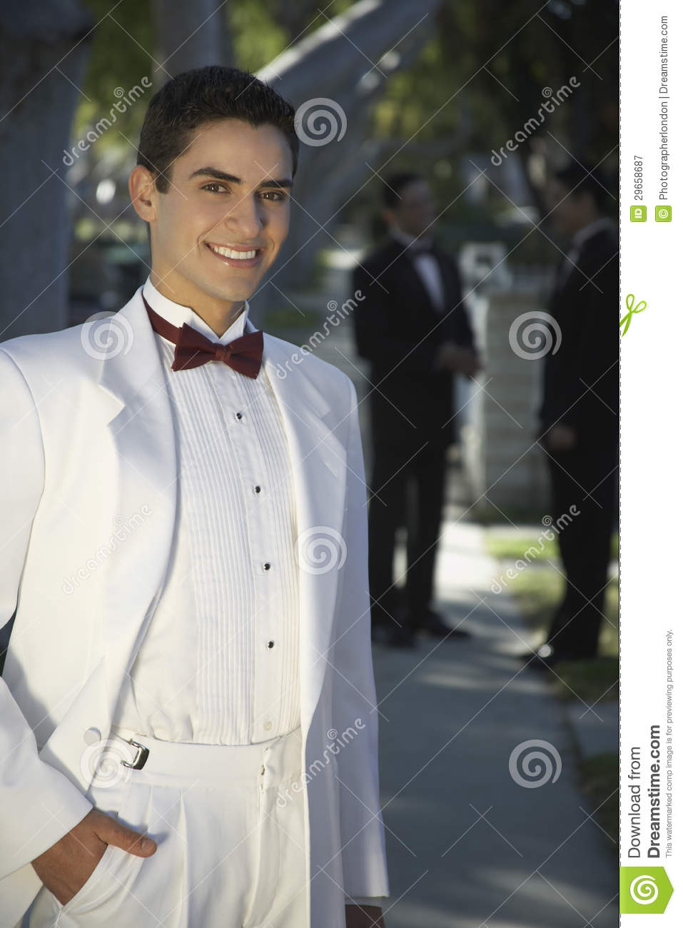 Handsome Young Man In Tuxedo Smiling At Quinceanera ...