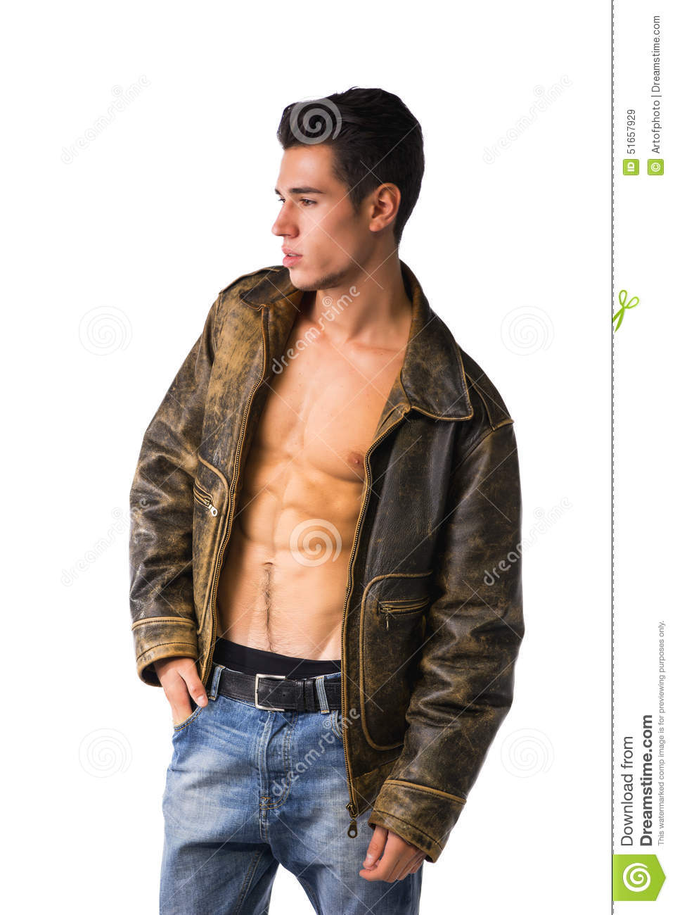 Handsome Young Man Wearing Leather Jacket On Naked Torso, Isolated Stock Image - Image -2791