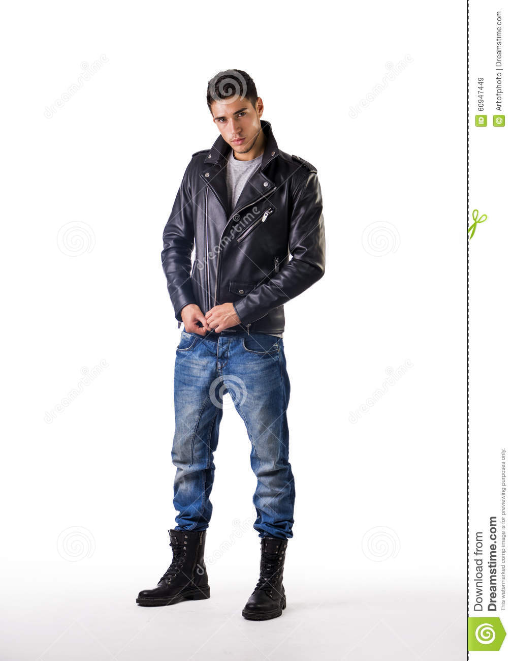Handsome Young Man Wearing Leather Jacket, T-shirt Stock ...