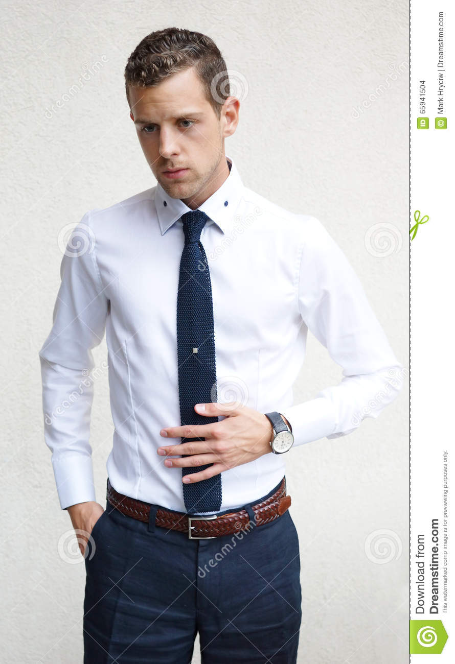 Handsome Young Man Wearing A White Shirt Blue Tie Stock
