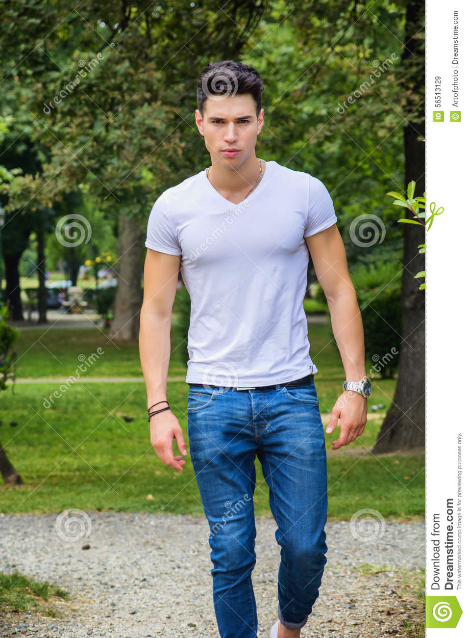 Handsome Young Man In White T-shirt Outdoor In Stock Image - Image of dynamic model 56513129