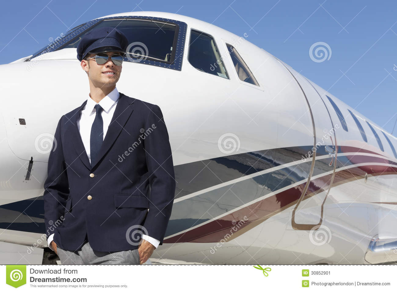 Handsome Young Pilot Standing By Private Airplane Stock Image - Image ...