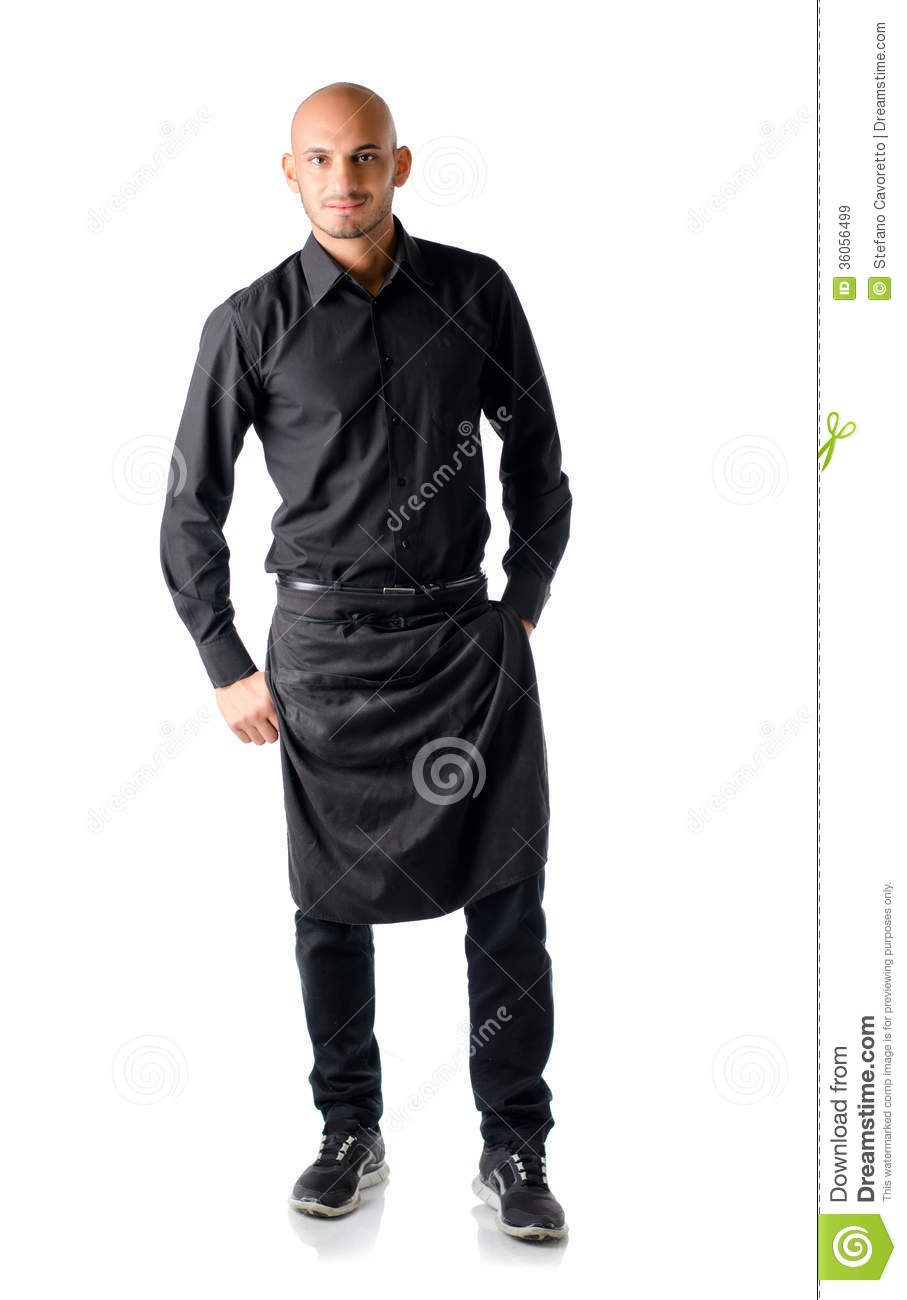 handsome young restaurant or bar waiter  standing on white