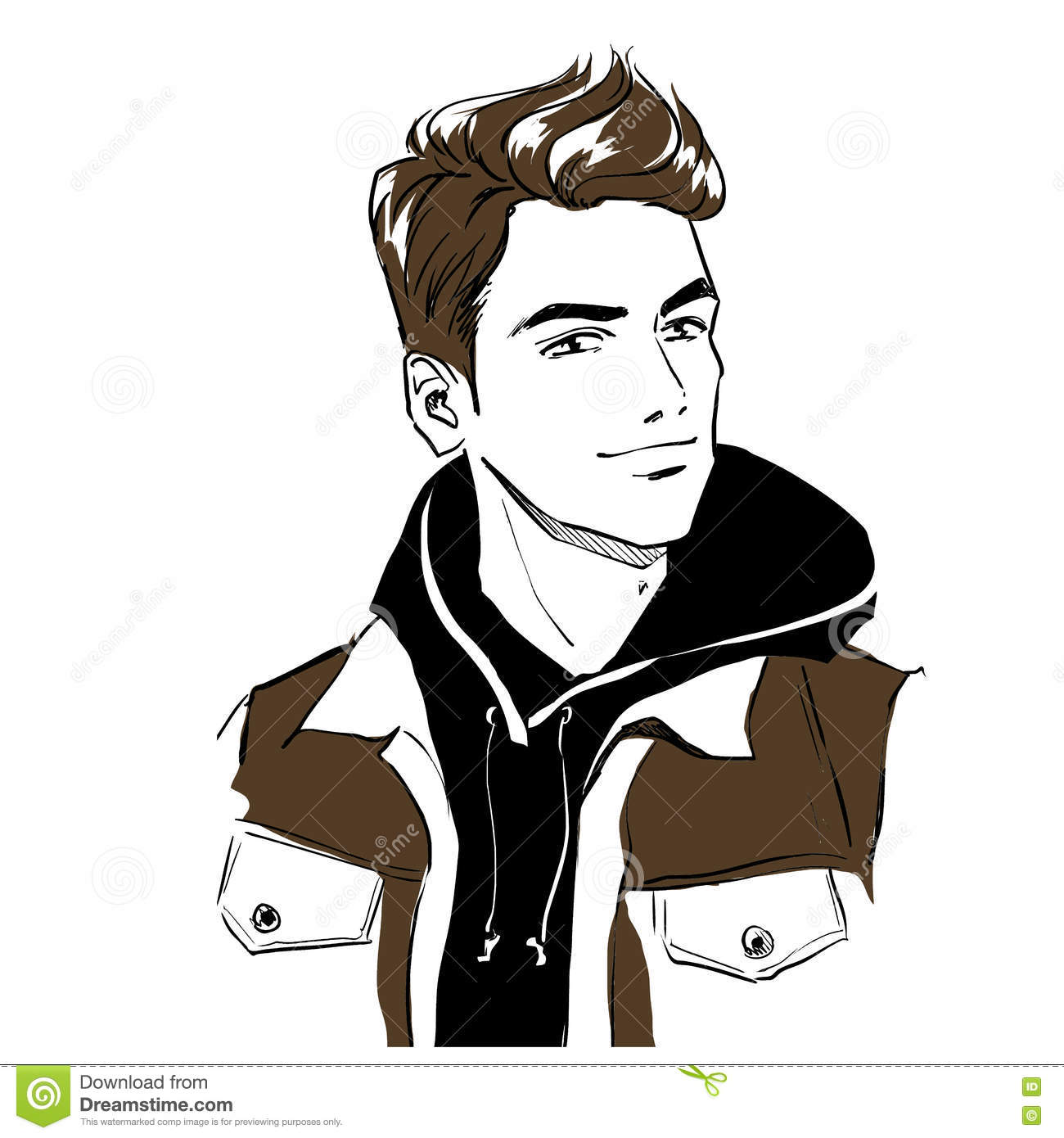 8a0c43279cd Handsome Young Stylish Man In Autumn Clothes. Stock Vector ...