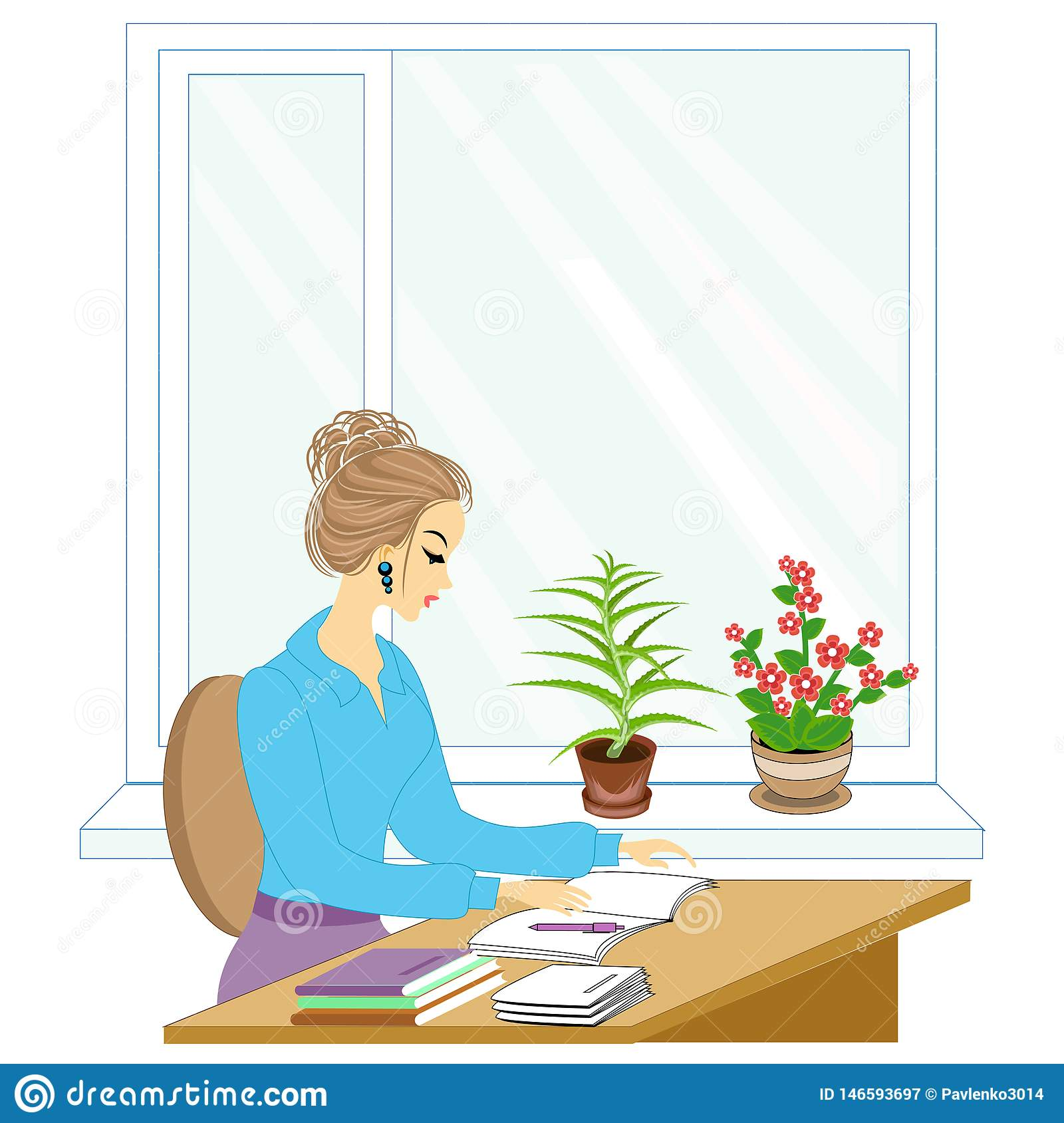 Handsome young teacher. The girl is sitting at the table near the window. A woman writes in a class journal. Vector illustration