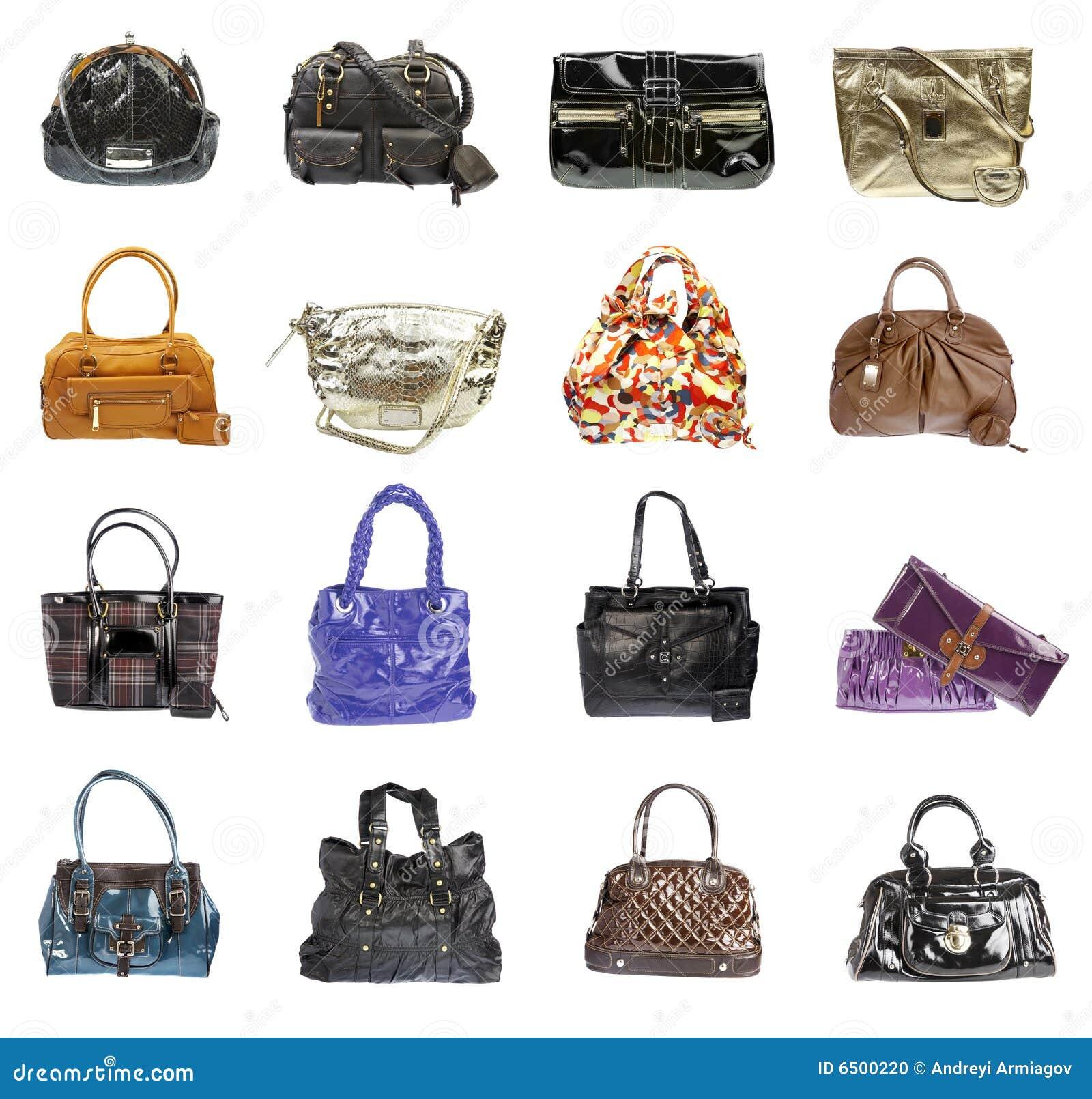 Handtasche der Damen auf einem weißen Hintergrund