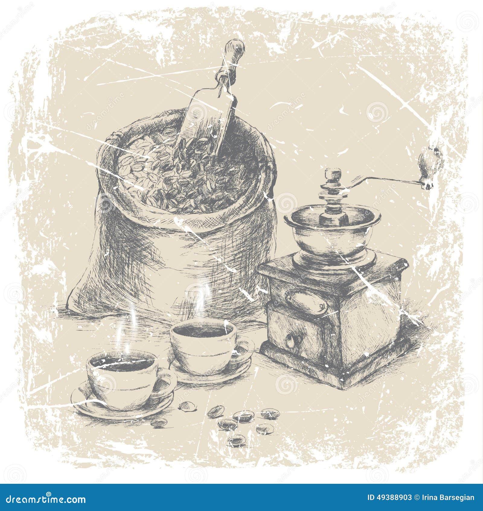 Handteckning av kaffeuppsättningen ilustration