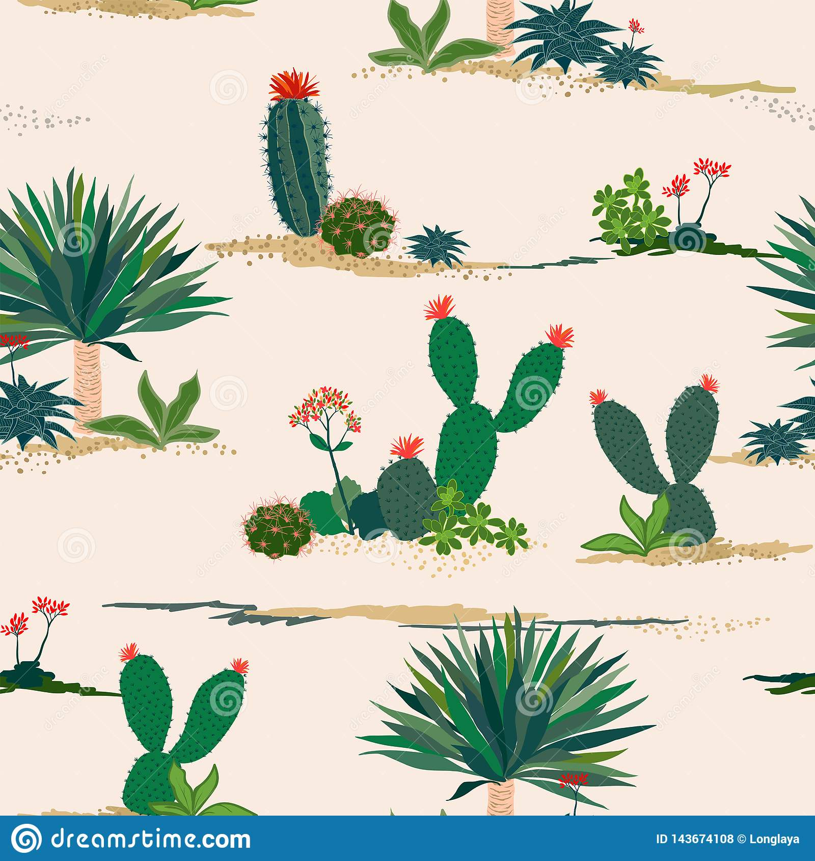 Handteckningskaktus och sömlös modell för suckulenta växter på pastellfärgad bakgrund för dekorativt, mode, tyg, textil, tryck el