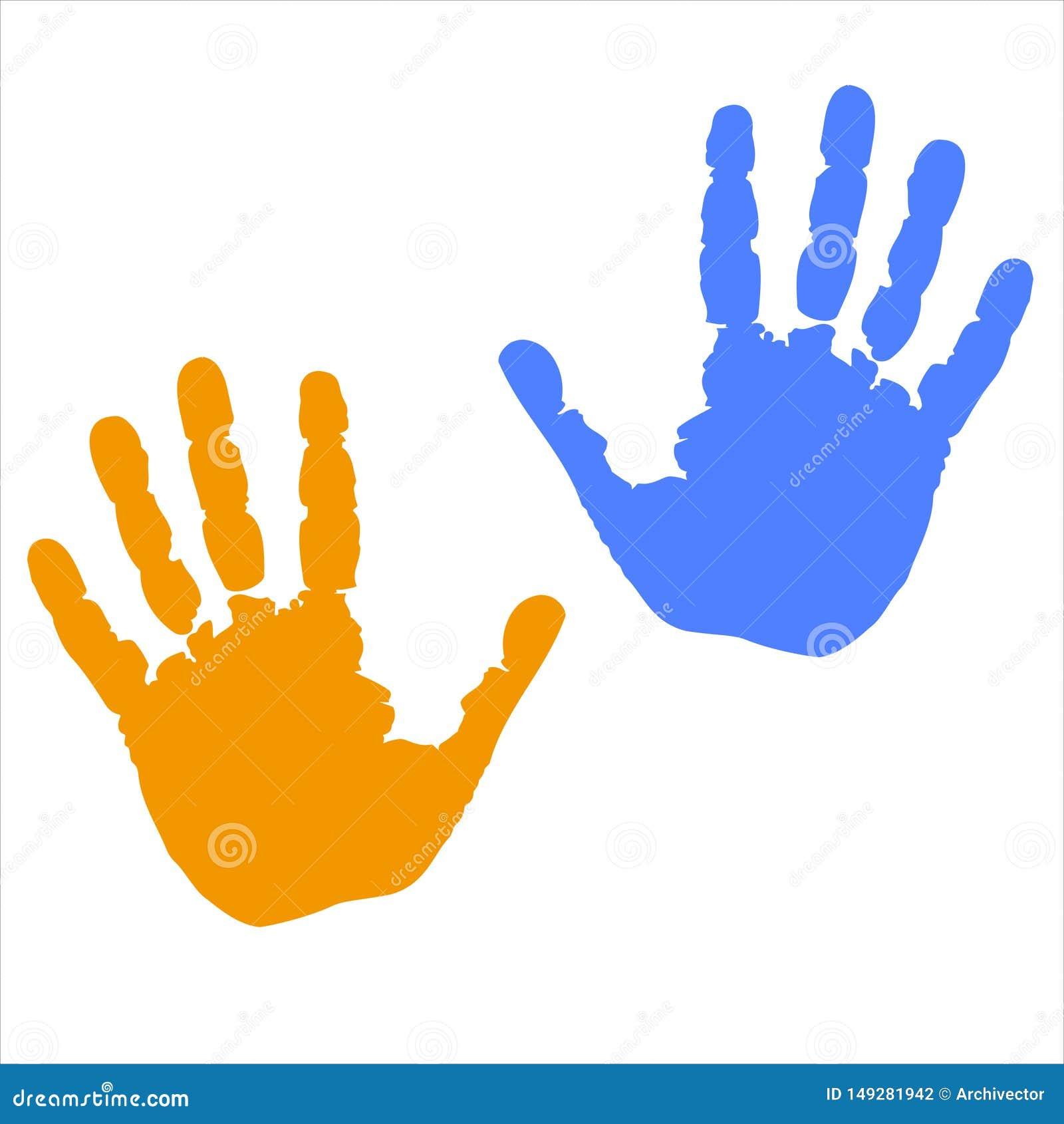 Handtryck färgade