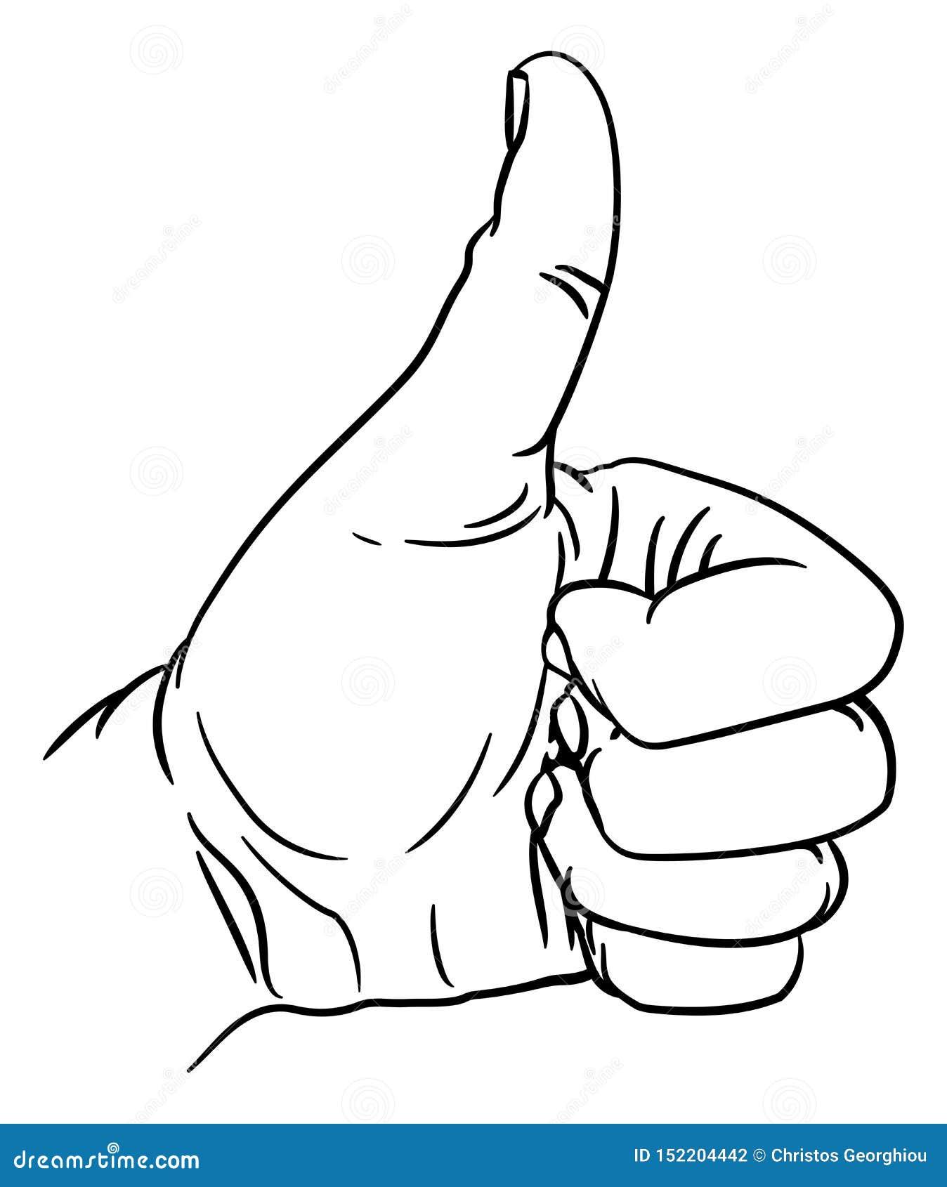 Handtummar gör en gest upp tummen ut fingrar i näve