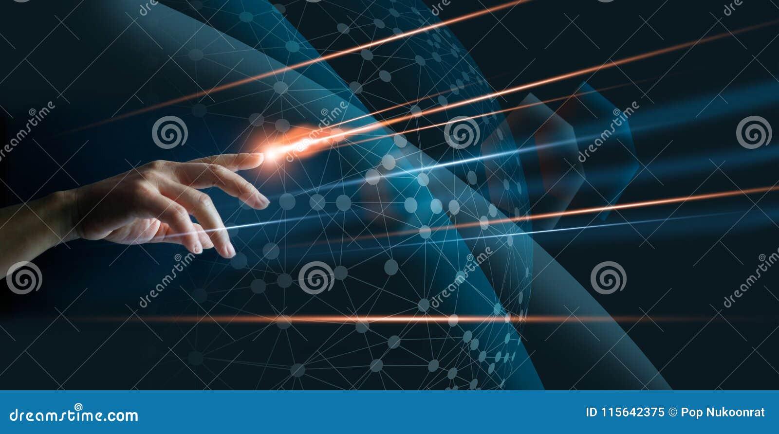 Handvinger met verlichting wat betreft globale netwerkverbinding