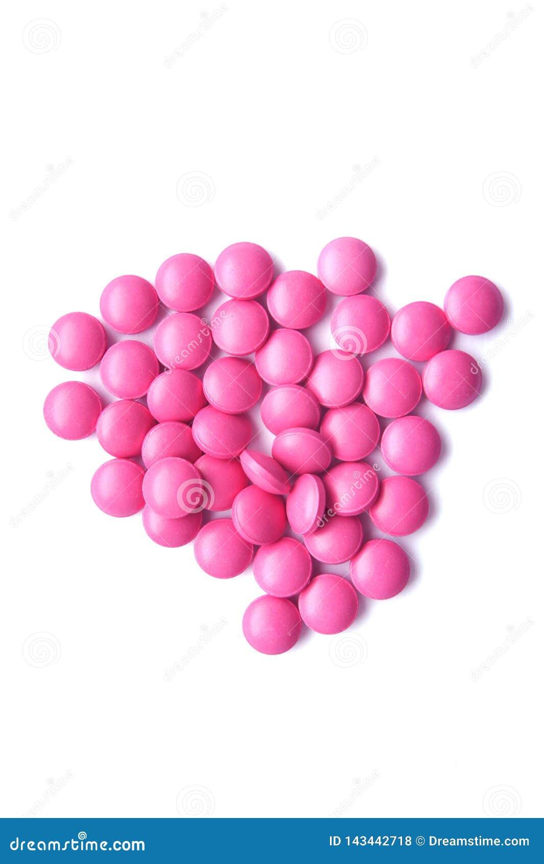Handvol roze tabletten
