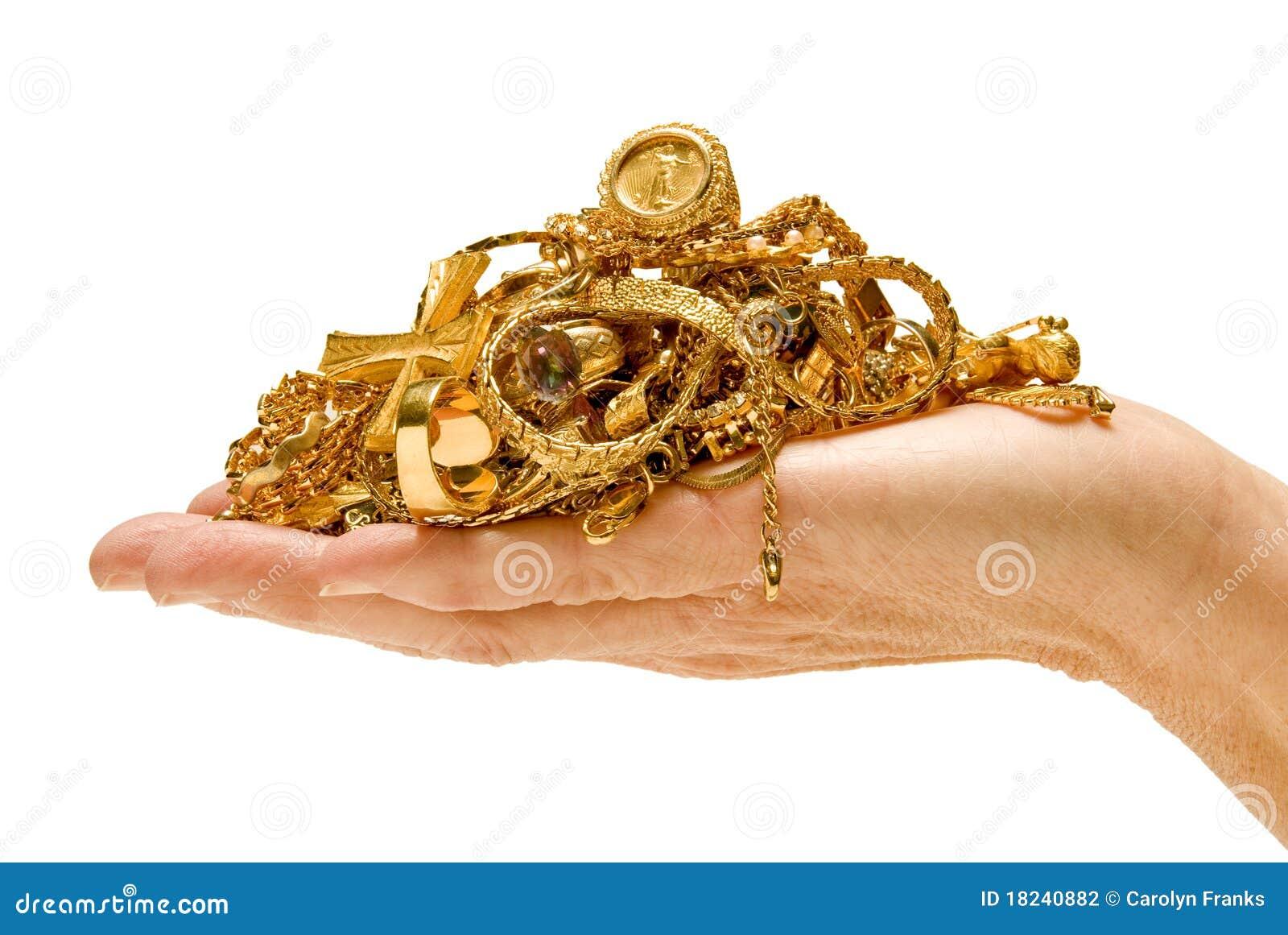 Handvol van Gouden Juwelen