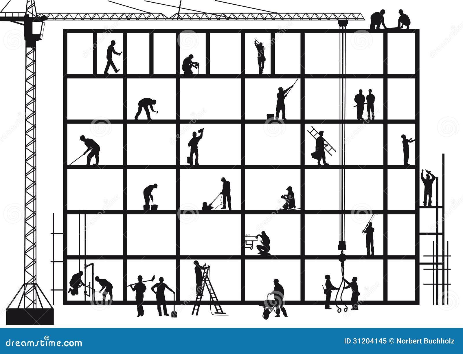 Haus baustelle clipart  Handwerker Auf Baustelle Lizenzfreies Stockfoto - Bild: 31204145