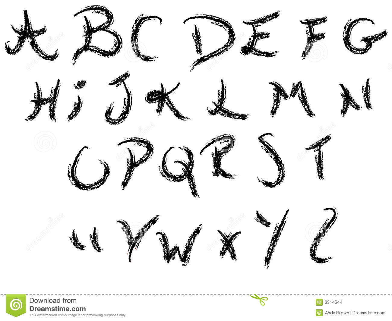 Hand writing alphabet - 26 Individual Vector Letters grouped for easy ...