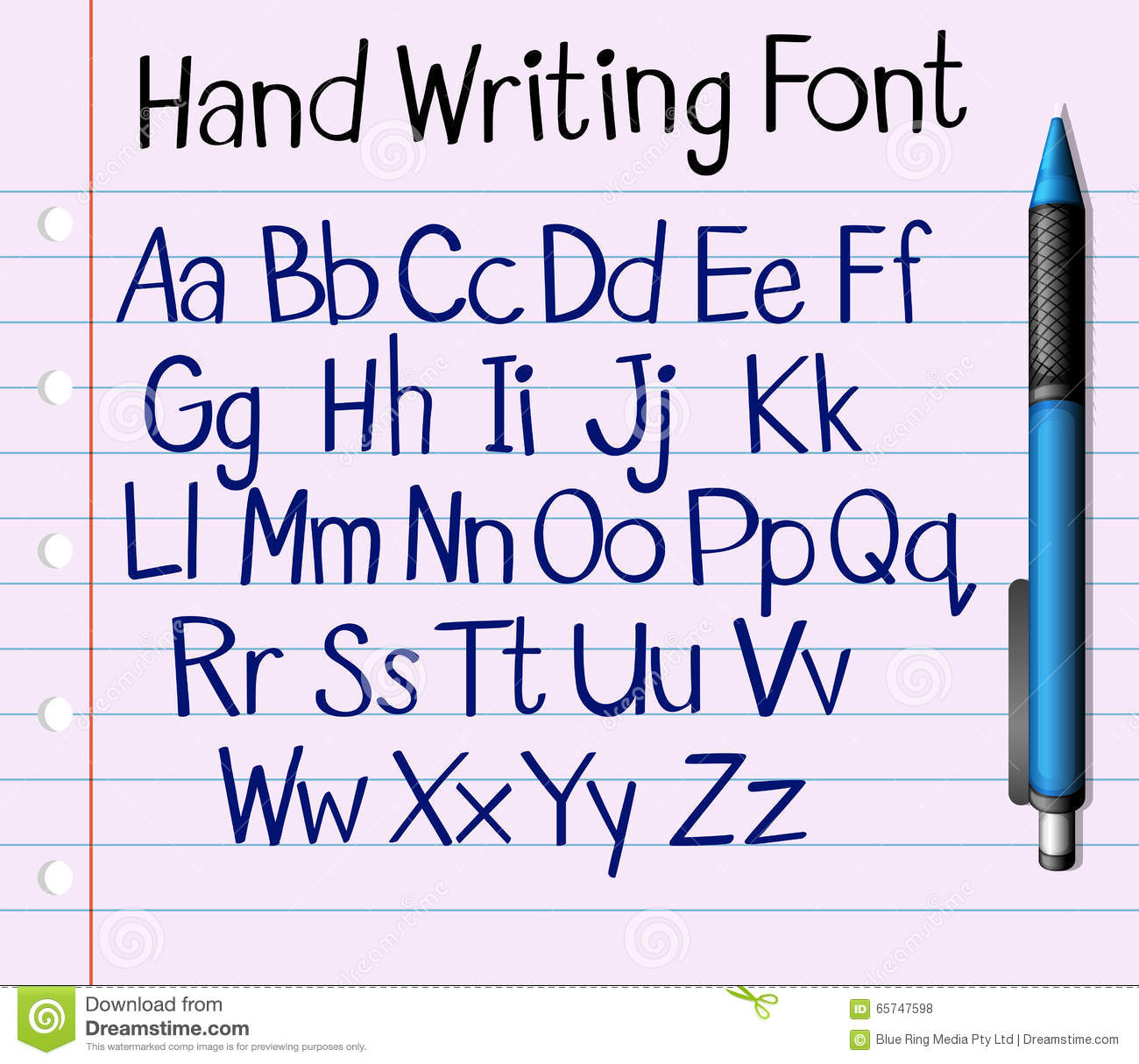 handwriting font of english a to z stock vector image 65747598