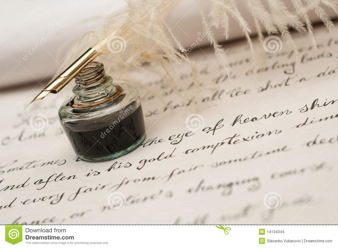 handwriting ink and quill pen stock photo image of medieval