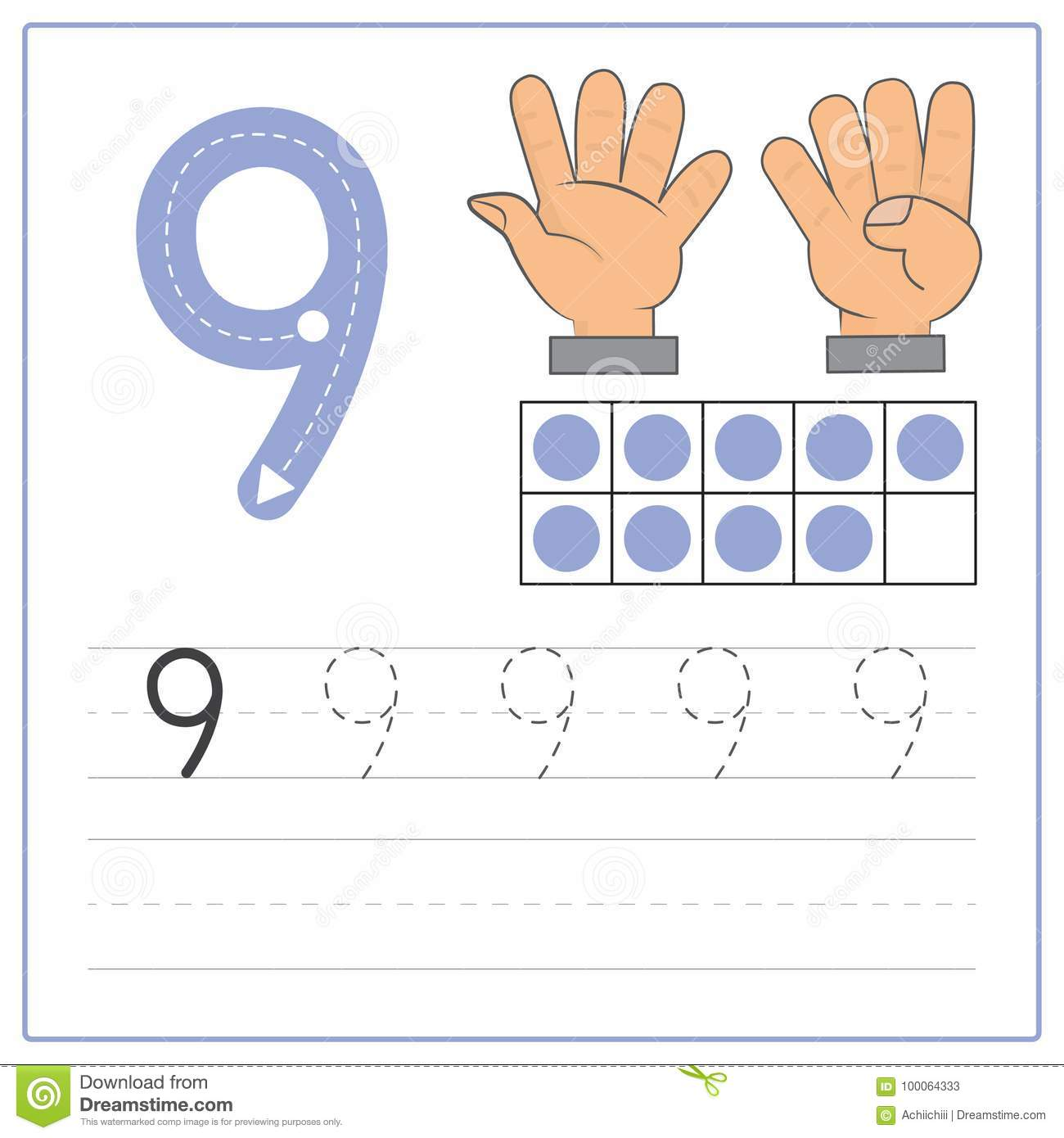 Number writing practice 9 stock vector. Illustration of ...