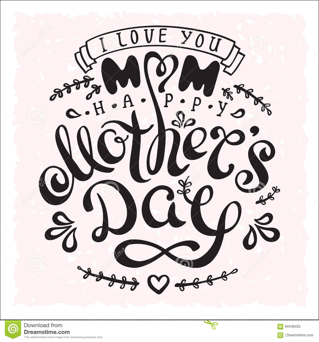 Handwriting Phrase Happy Mothers Day With Drawn Flowers And Heart