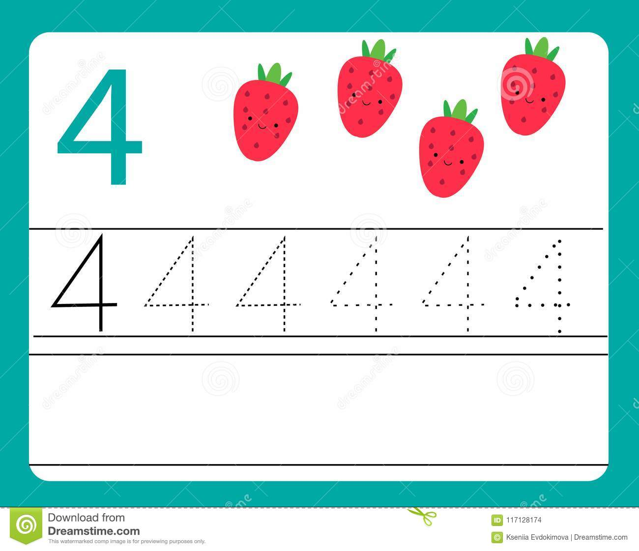 Handwriting Practice. Learning Numbers With Cute Characters. Number ...