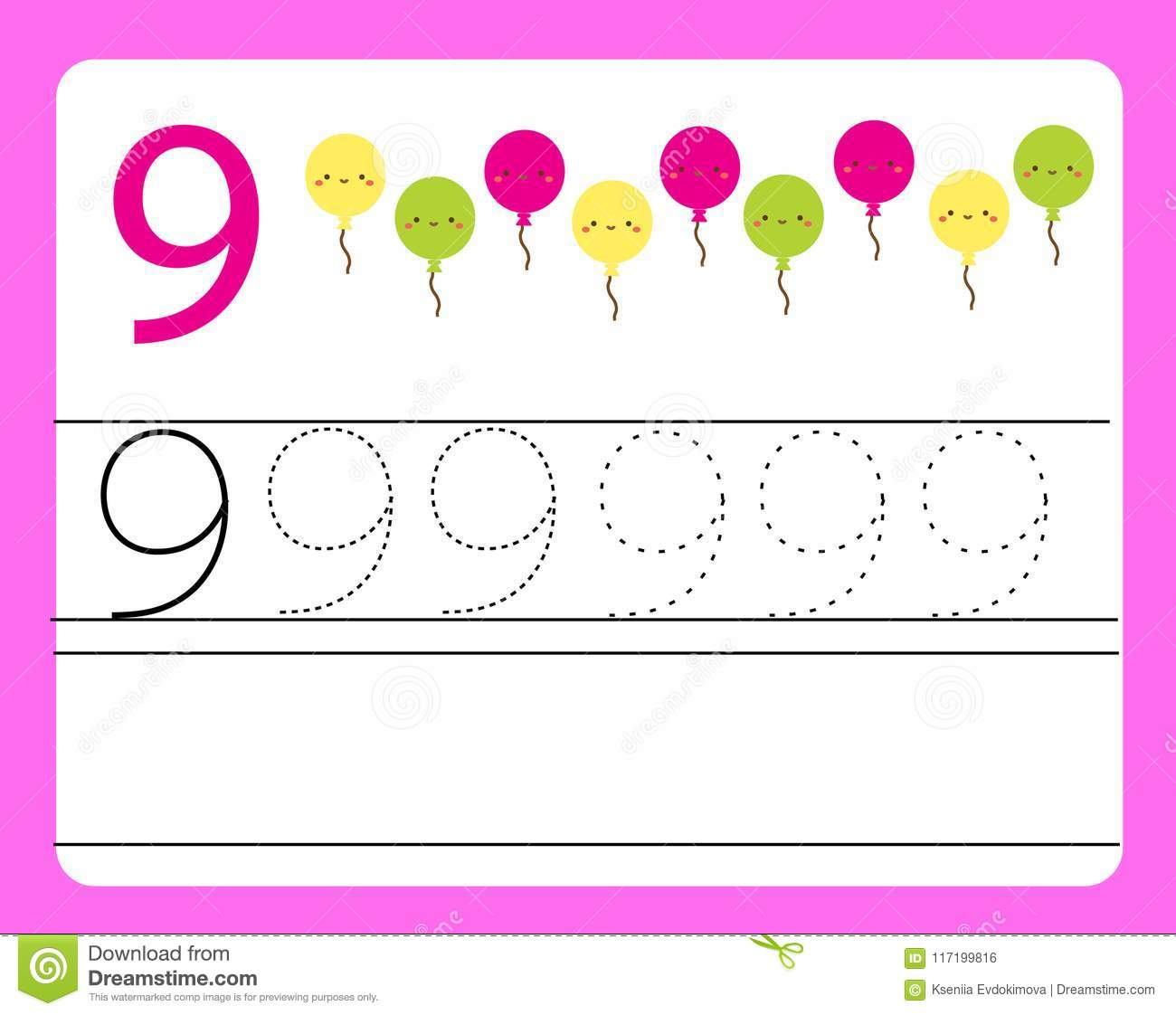 Handwriting Practice Learning Numbers With Cute Characters Number Nine Educational Printable Worksheet For Kids And Toddlers Wi Stock Vector Illustration Of Outline Lines 117199816