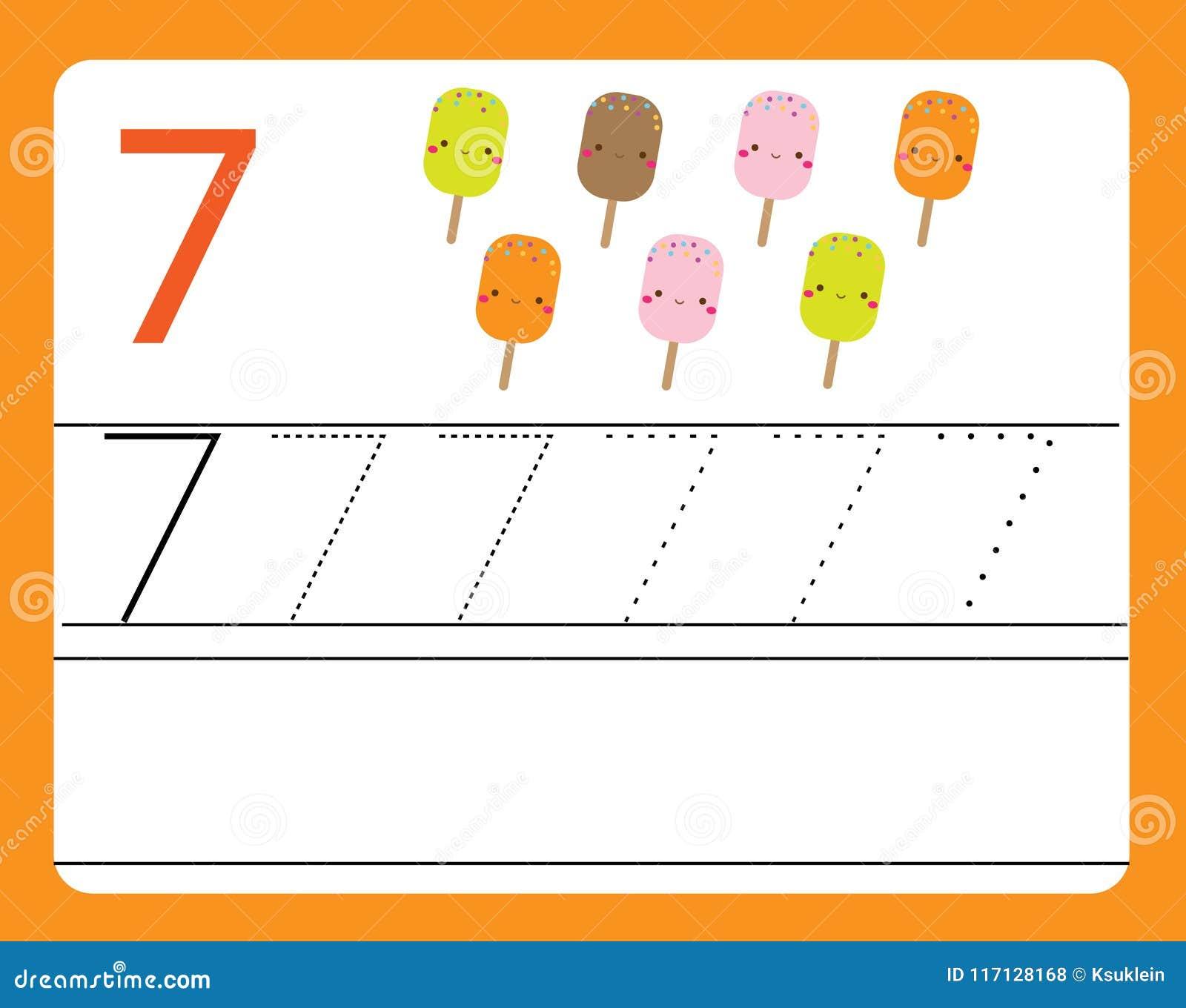 Handwriting practice learning numbers with cute characters number handwriting practice learning numbers with cute characters number seven educational printable worksheet for ibookread PDF