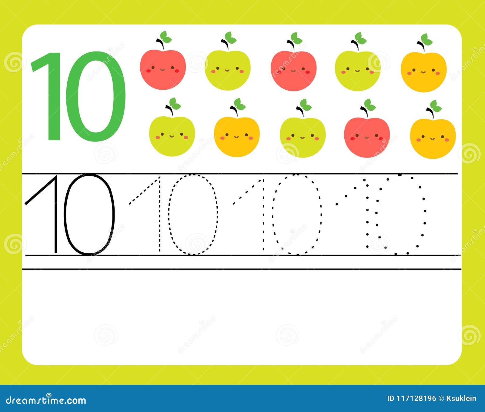 Handwriting practice learning numbers with cute characters number download handwriting practice learning numbers with cute characters number ten educational printable worksheet ibookread PDF