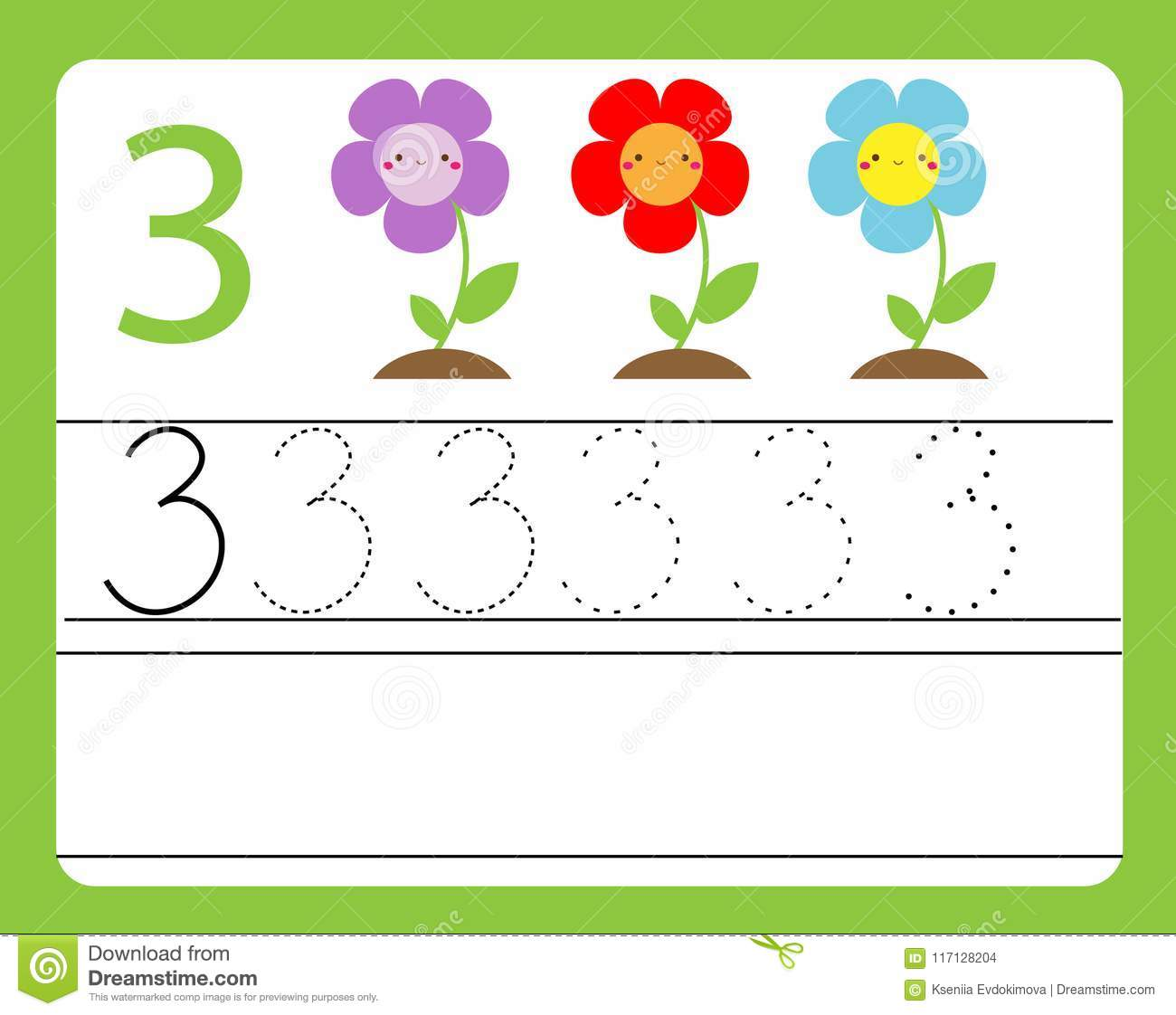 Handwriting Practice Learning Numbers With Cute Characters Number Three Educational Printable Worksheet For Kids And Toddlers W Stock Vector Illustration Of Cute Preschool 117128204