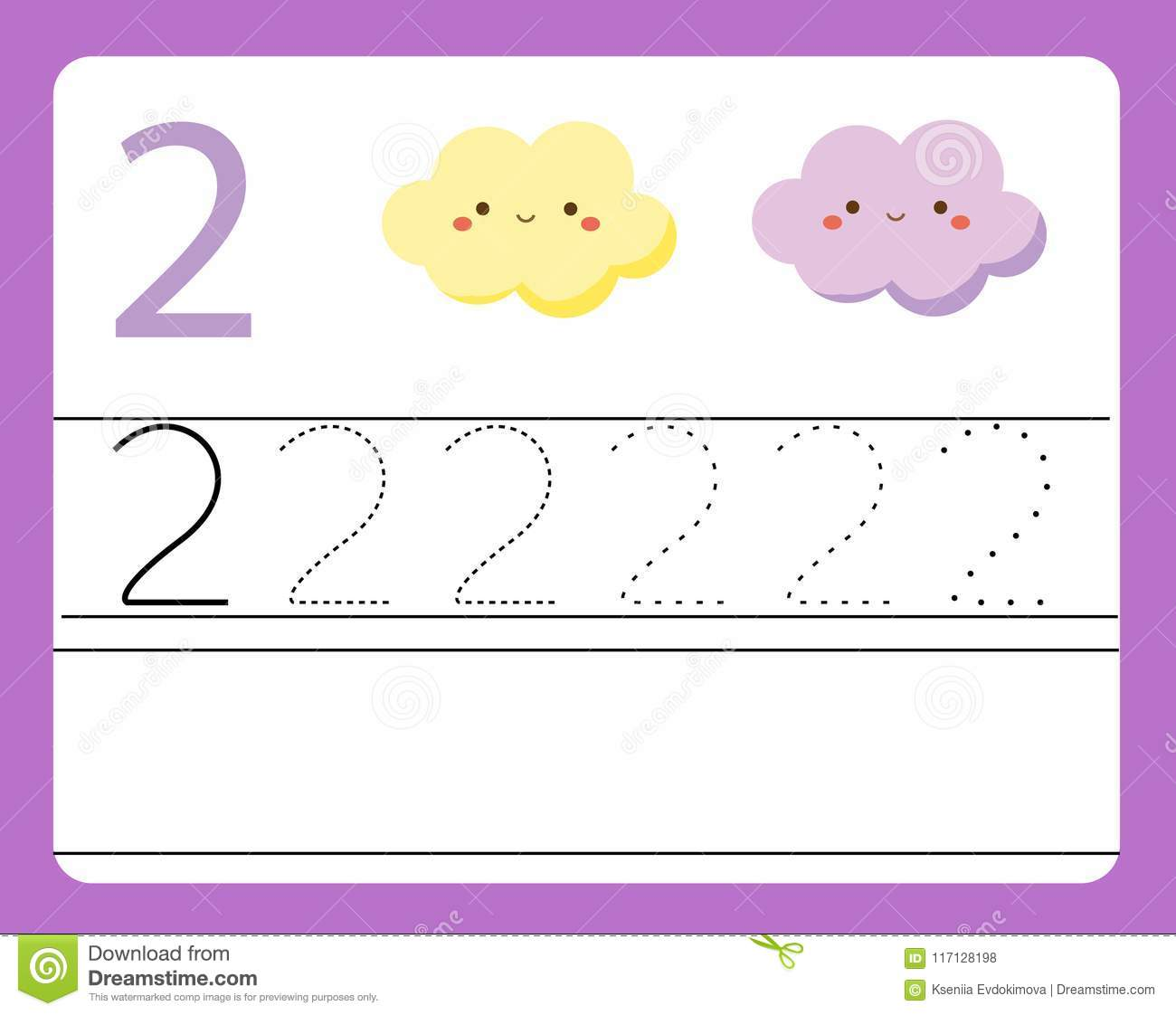 Handwriting Practice Learning Numbers With Cute Characters Number Two Educational Printable Worksheet For Kids And Toddlers Wit Stock Vector Illustration Of Characters Activity 117128198