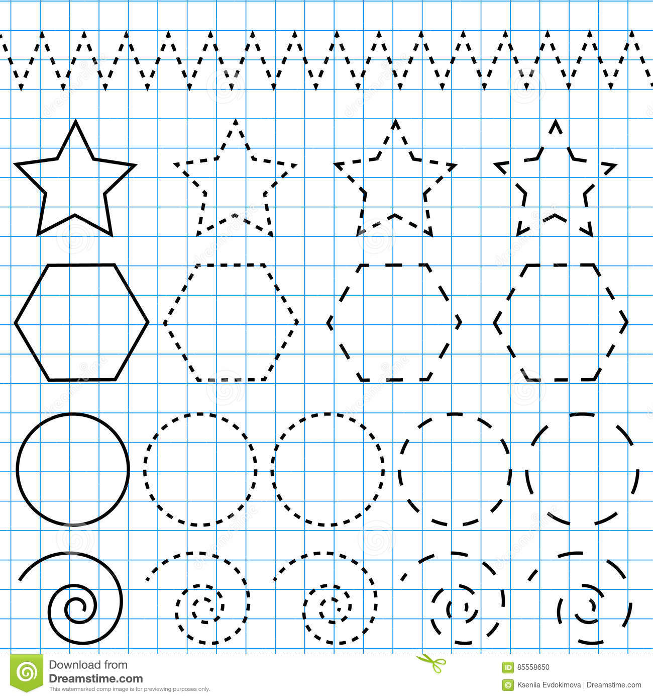 Vector Drawing Lines Worksheets : Handwriting practice sheet educational children game