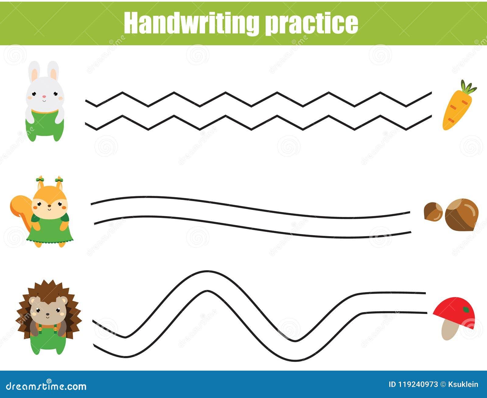 Handwriting Practice Sheet. Educational Children Game ...