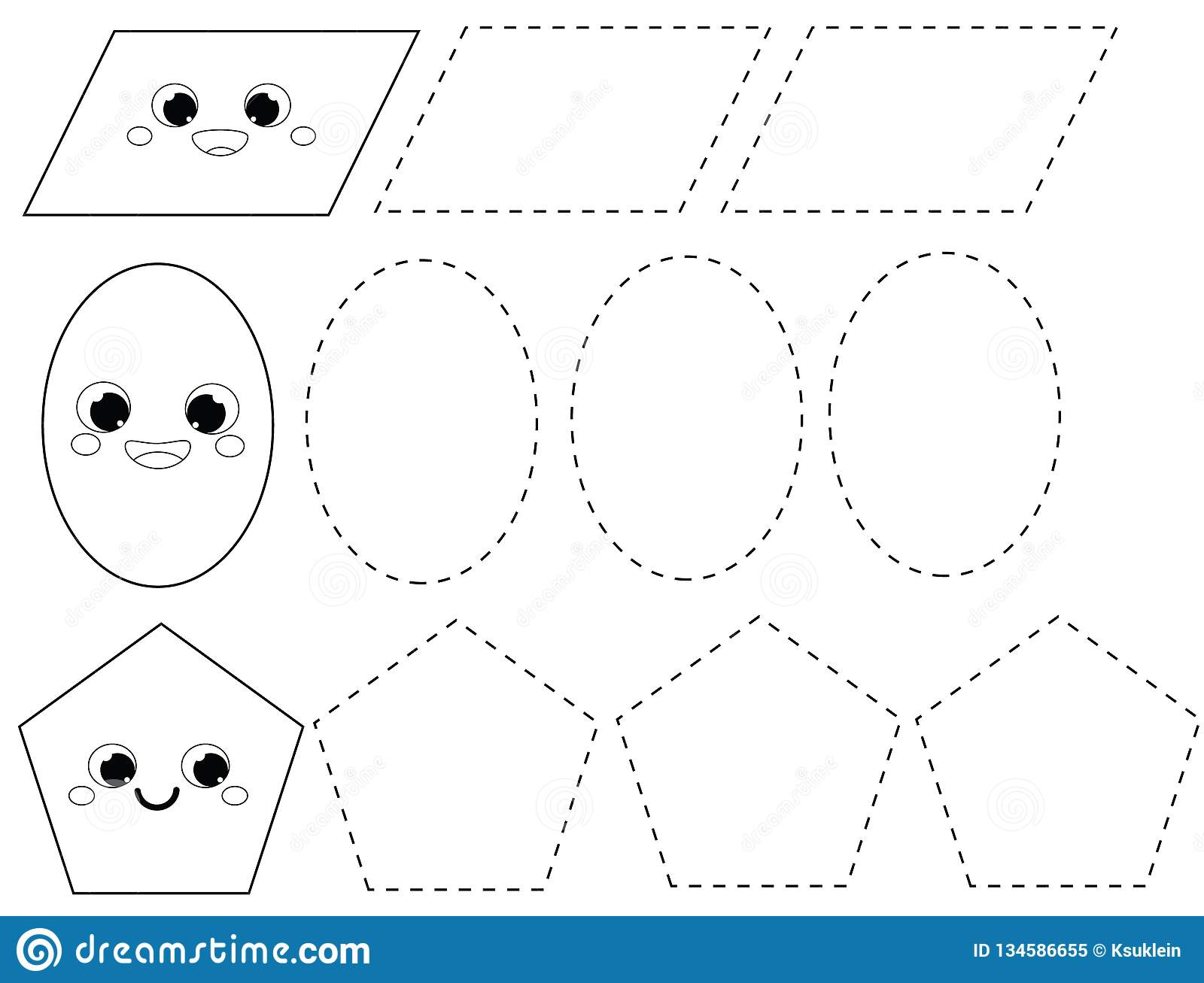 picture relating to Printable Geometric Shapes named Handwriting Coach Sheet. Instructive Little ones Sport