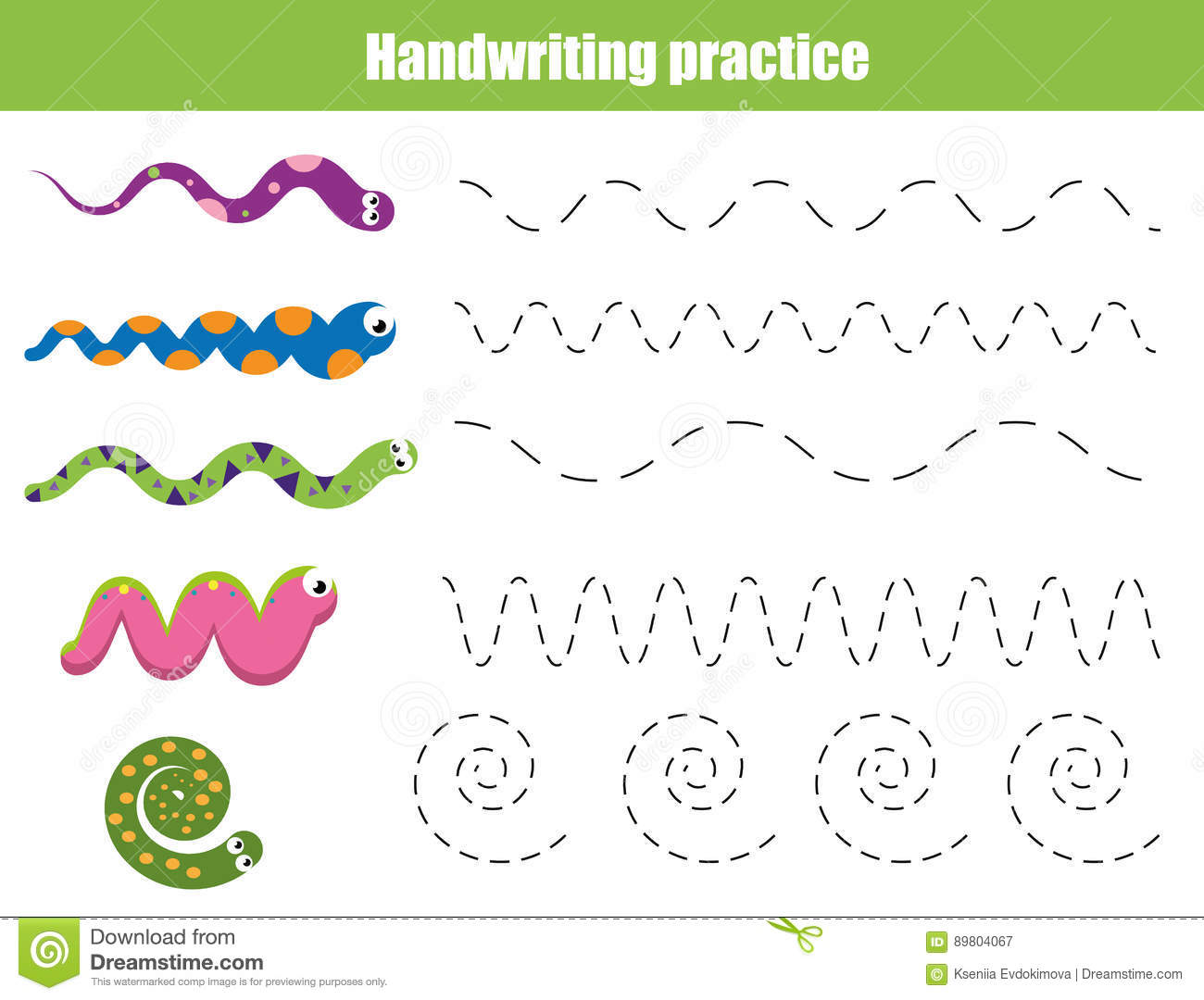 Download Handwriting Practice Sheet. Educational Children Game, Printable  Worksheet For Kids With Wavy Lines