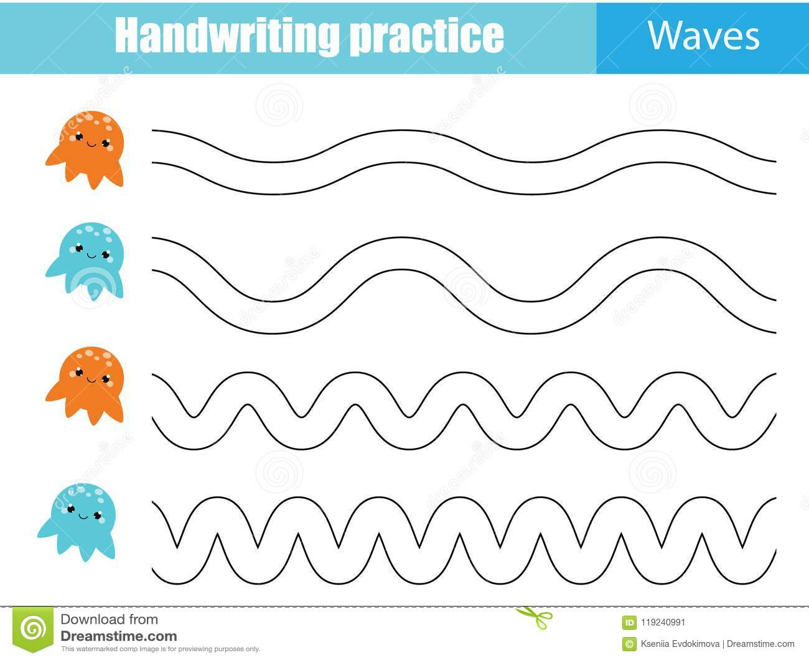 handwriting practice sheet. educational children game, printable