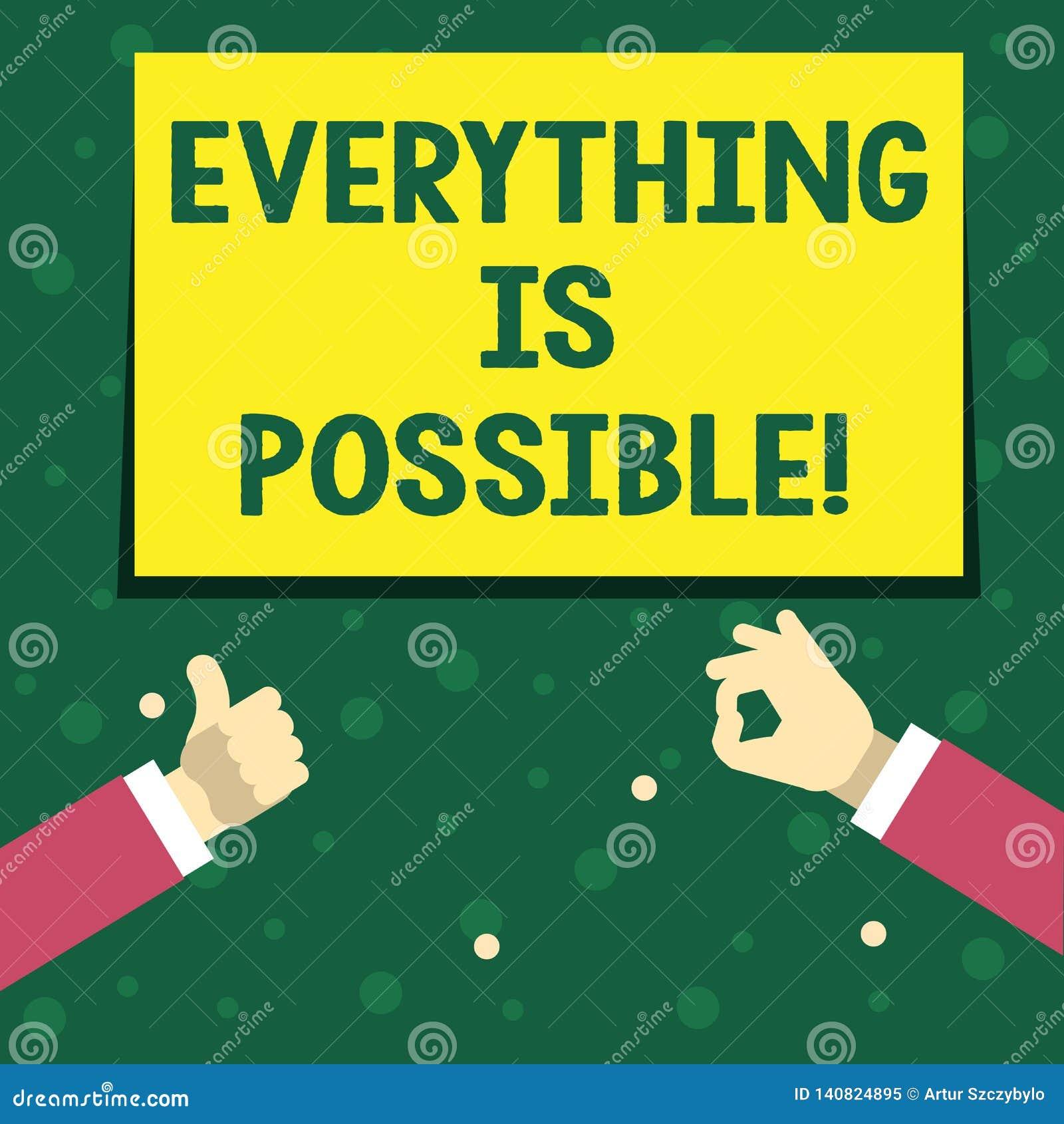 Handwriting tekst pisze Everything Jest Ewentualny Pojęcie znaczy Wszystko ty myśleć lub sen może zostać prawdziwy Optymistycznie